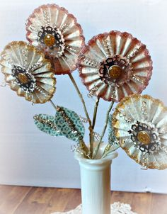 Pinch Your Chic Glitter Winter Blossoms made with Crate paper and Tim Holtz Alterations rosette die