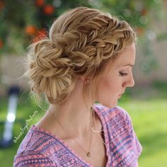 Dutch braid and Dutch fishtail braid Messy bun from @anniesforgetmeknots. This look would be really pretty for prom.