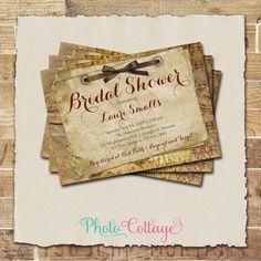 Fall Bridal Shower Invitation, Ribbon, Burlap and Lace Invitation, Rustic Invitations, Bridal Shower Invites, Country Invitation, BS153