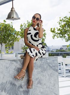 Nude strappy heels  An Abstract Black and White Dress in Miami – Sydne Style