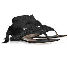 Alberta Ferretti Ankle-Tie Flat Sandals