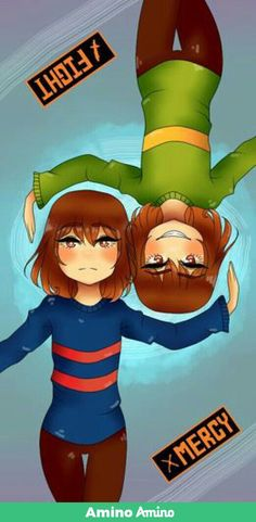 Frisk and chara. Fight or mercy.