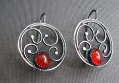 Sterling Silver Mandala Earrings with Carnelian  by JaneFont