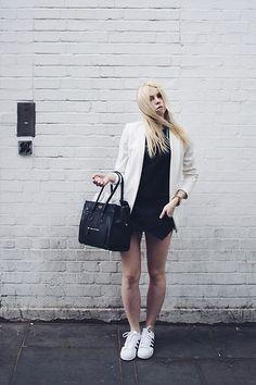 H&M White Blazer, Zara Skort, Adidas Superstar