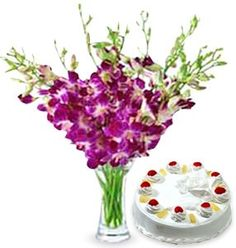 10 orchids and 1kg cake of your choice