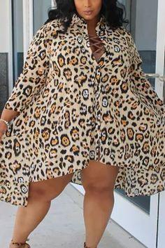 Leopard print Sexy Leopard Turndown Collar Plus Size Leopard Fashion, Orange Fashion, Denim Fashion, Fashion Outfits, White Fashion, Curvy Fashion, Fashion Women, Fashion Ideas, Plus Size Dresses