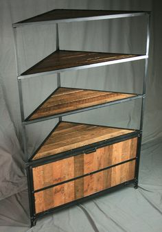 Reclaimed Wood and Steel Laundry Unit. Curio Cabinet with Hamper. Welded Furniture, Car Furniture, Diy Furniture Projects, Steel Furniture, Unique Furniture, Industrial Furniture, Homemade Cabinets, Tea Table Design, Corner Hutch