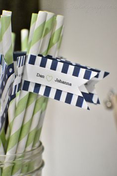 Navy and Green wedding straws!  love the colors! For mollie