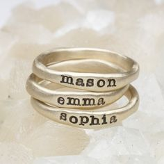 Hand-molded and cast in 10k gold, these rings have a beautiful organic shape and feel. Each ring has a hammered texture. Customize your ring with a special name or short phrase and stack them up for an up-to-date look!