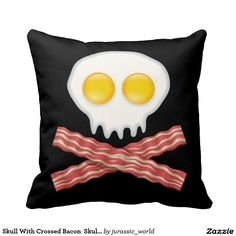 Skull With Crossed Bacon  Skull Bacon Eggs Throw Pillow