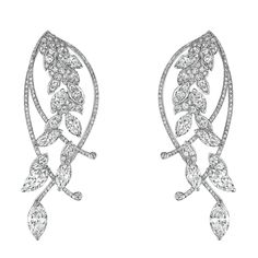 Légende de Blé #Earrings from #LesBlesDeChanel - #Chanel - #FineJewelry collection in 18K white gold set with 2 #MarquiseCut - #Diamonds (2.1 cts), 12 marquise cut diamonds (5.1 cts) and 380 #BrilliantCut diamonds (3.1 cts) - July 2016