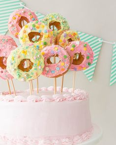 How cute is this donut cake topper? This is sure to add a fun and festive touch to any cake. Donut Party, Donut Birthday Parties, Baby Birthday, Birthday Cakes, Birthday Ideas, Cupcakes, Cupcake Cakes, Donut Cakes, Bachelorette Party Desserts
