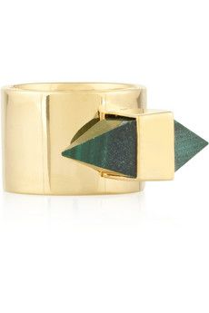Kelly Wearstler Pavlov gold-plated malachite ring | THE OUTNET  excellent Valentines day present right here Bryan!