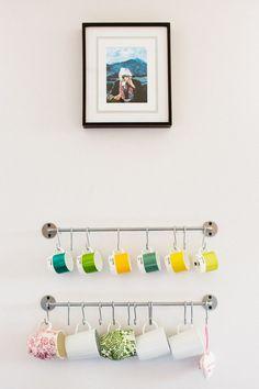 Jen Serafini's Chicago Apartment Tour | The Everygirl (display mugs on bygel)