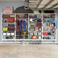 Garage Storage Plans The Family Handyman Ideas For 2019 Lockable Storage Cabinet, Garage Storage Shelves, Overhead Garage Storage, Diy Toy Storage, Sliding Shelves, Garage Storage Solutions, Garage Shelf, Garage Organization, Wire Shelving