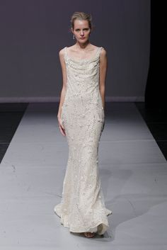 Sheath dress with a square neckline and a plunging cowl back-Make your wedding day unforgettable, we can make this gorgeous wedding dress for you at Www.DreamDress.co/custom