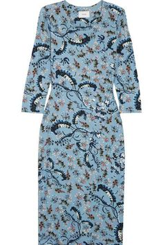 Erdem - Allegra Printed Stretch-ponte Dress - Blue - UK12