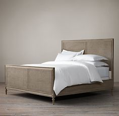 Maison Caned Panel Bed With Footboard antique gray
