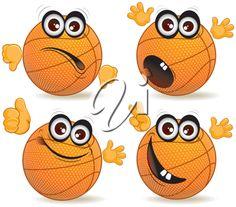 iCLIPART - Cartoon Clip Art Image of a Funny Basketball Ball Character