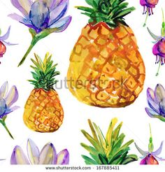 tropical seamless background. watercolor by olies, via Shutterstock