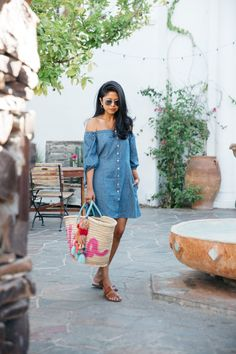 outfit, summer, casual, street style, stylish, trendy, bebe, foray getaways, foray collective, pretty, summer trends, fashion blogger, influencer, for women, simple, basic, shopping, fashion, denim dress, sandals, purse, colors, sunglasses, walk in wonderland