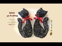 Gatos en la pared, reciclaje de papel periódico | Manualidades