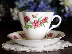 Clare Footed Teacup Tea Cup and Saucer English by TheVintageTeacup