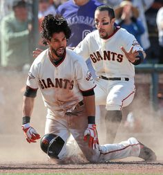 INSIDE THE PARK HOME-RUN San Francisco Giants' Angel Pagan, center, celebrates with Marco Scutaro, left, and Andres Torres after hitting an inside the park two-run home run off of Colorado Rockies pitcher Rafael Betancourt during the Giants Players, Baseball Players, Baseball Drawings, Baseball Series, Minnesota Twins Baseball, Cheap Baseball Caps, San Francisco Giants Baseball, Baseball Pants, Sport Man