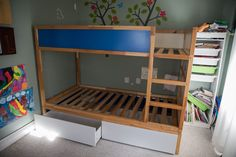 Hacking the KURA into a bunk bed with malm under bed storage Under Bed Drawers, Bunk Beds With Drawers, Bunk Beds With Storage, Bunk Beds With Stairs, Cool Bunk Beds, Ikea Under Bed Storage, Desk Under Bed, Malm Drawers, Bedroom Storage For Small Rooms