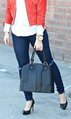 Polished structured satchel with top handles and gold-toned hardware