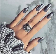 nails Stunning Silver Nail Designs Trends - Fashonails What Currently Defines African American C Silver Nail Designs, French Manicure Designs, Colorful Nail Designs, Gray Nails, Silver Nails, Glitter Nails, Silver Rings, Trendy Nails, Cute Nails
