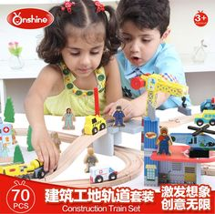 Wooden plane ping train car scene toys suit,The creative assembly toys.Children's educational toys,Models & Building Toy-Blocks