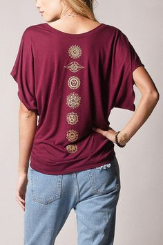 soft and flowing chakra printed dolman sleeved blouse