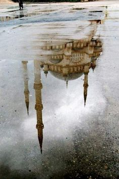 Istanbul. Notes: Using the reflection allows for an interesting photo even though conditions are less than ideal.