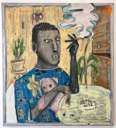 Pixie 110x100cm . . . . . . #pixie#pig#portrait #painting #kunst#maleri#instaart #instagram #smoke#plants#2017