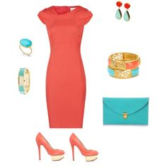 """vestido coral complementos turquesa"" by silviafriends on Polyvore"