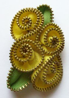 Canary Yellow Abstract Floral Brooch / Zipper Pin Brass Teeth by ZipPinning 2975 by ZipPinning on Etsy