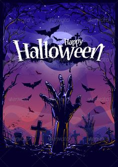 Buy Halloween Background by Vecster on GraphicRiver. Halloween background with zombie hand and cemetery view. Halloween Designs, Halloween Tags, Halloween Vector, Halloween Poster, Halloween 2014, Halloween Quotes, Halloween Pictures, Scary Halloween, Vintage Halloween