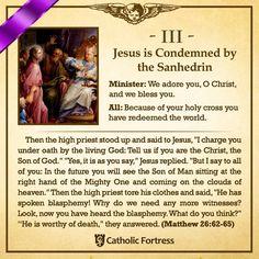 Jesus Condemned by Sanhedrin Catholic Lent, Catholic Theology, Catholic Catechism, Catholic Answers, Catholic Prayers, Roman Catholic, Catholic Traditions, Catholic Memes, Spiritual Prayers