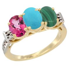 14K Yellow Gold Natural Pink Topaz, Turquoise and Malachite Ring 3-Stone Oval 7x5 mm Diamond Accent, sizes 5 - 10 *** Startling review available here  : Ring Bands