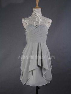 grey pleating a-line cheap short bridesmaid dress   Cheap prom dresses Sale