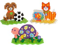 Make these fun 3-D pet scenes: a kitty and a fishbowl, a puppy with a soccer ball, and a colorful turtle playing among the flowers. Simple tab and slot assembly is used for all three.