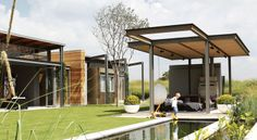 While this modern abode has a minimalist integrity, it also embodies a sense of warmth. Landscape Design, Garden Design, House Design, South African Homes, Outdoor Spaces, Outdoor Decor, Farms Living, Garden Pool, Love Home