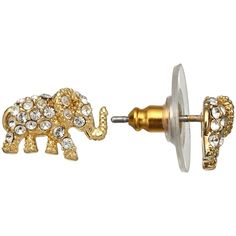 kate spade new york Pavé Elephant Pendant Stud Earrings, Gold ($62) ❤ liked on Polyvore featuring jewelry, earrings, elephant earrings, stud earring set, pendants & necklaces, gold charms and elephant stud earrings