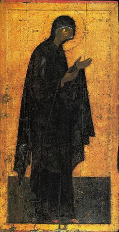 Theophanes the Greek, Icon from the Deësis Tier c. 1399 Egg tempera on wood, height 210 cm Cathedral of the Annunciation, Kremlin, Moscow Byzantine Art, Byzantine Icons, Andrei Rublev, Greek Icons, Web Gallery Of Art, Religious Paintings, Russian Icons, Faith Of Our Fathers, Moscow