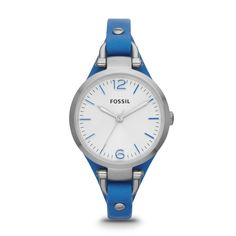 Fossil ES3297 Georgia Three Hand Leather Blue <3