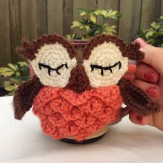 Orange Owl Coffee Cozy - Other colors available on Etsy, $21.89 CAD