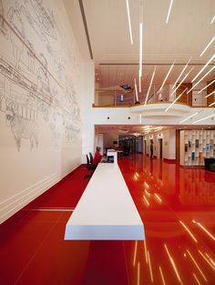 Flooring and mural, Virgin Atlantic Reception Area designed by Checkland Kindleysides Architects