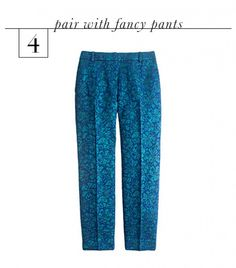 Pair It With Fancy Pants.  In the spirit of true high-low dressing, pair a menswear crewneck sweater with super fun party pants. Think: sequins, prints, or embellishments. Since your sweater will feel roomy and understated, you can take risks with some seriously festive trousers that would otherwise feel too costume-y.