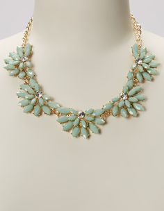 Light Green & Gold Floral Bib Necklace